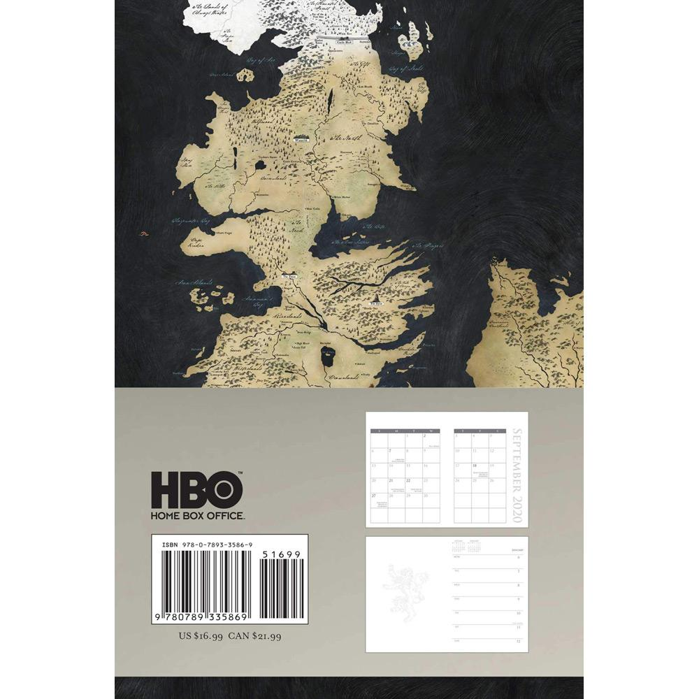 2020 Game of Thrones 16-Month Executive Engagement Calendar Back