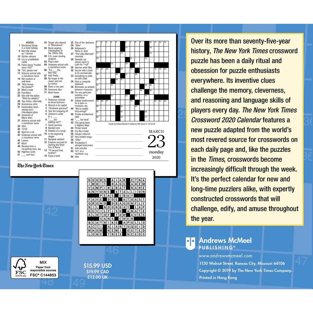 2020 The New York Times Crossword Puzzles Day-to-Day Calendar Back
