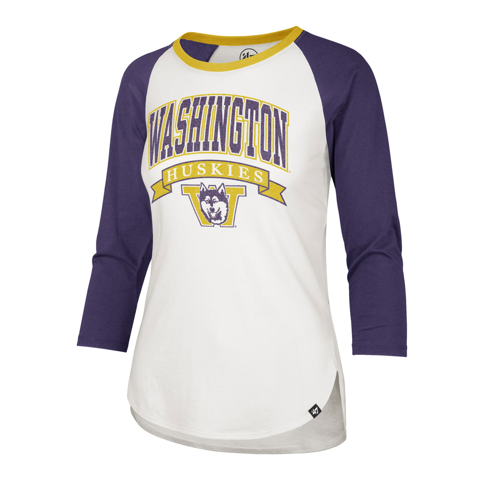47 Brand Women's Washington Huskies Vault Dog Splitter Raglan Tee