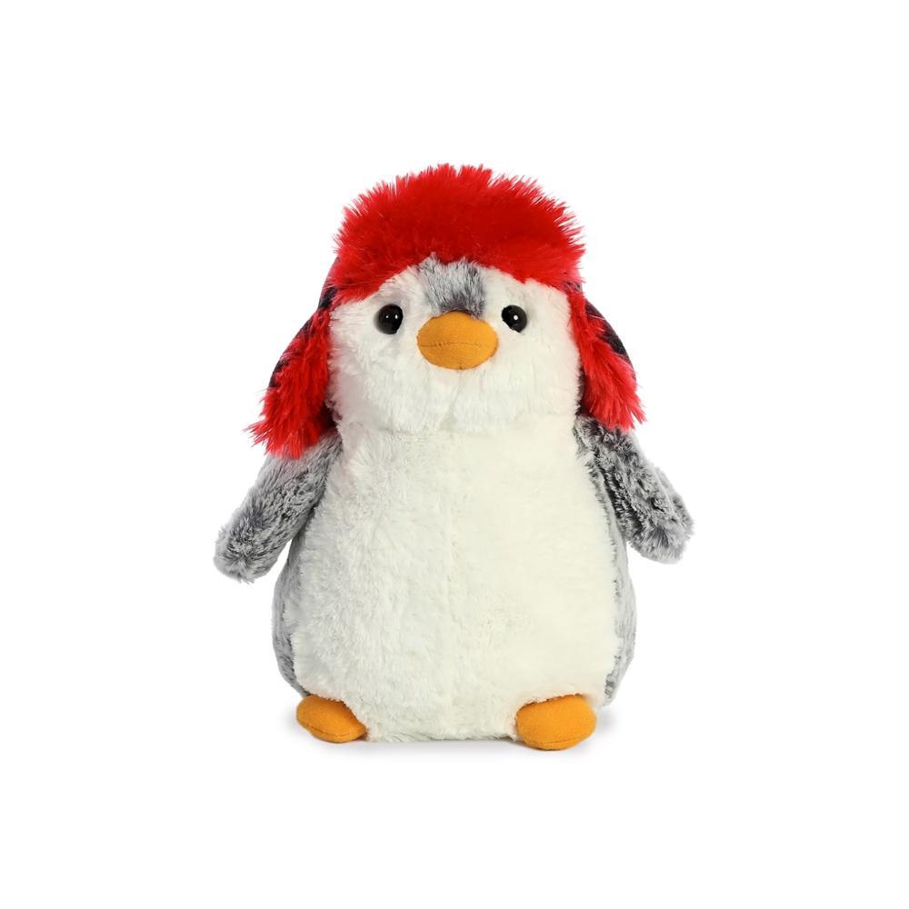 """Aurora PomPom Penguin Checkered Hat Plush 9"""""""