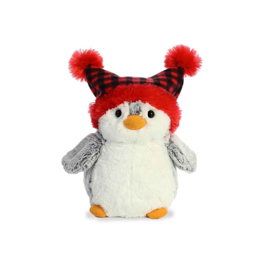 "Aurora PomPom Penguin Checkered Pom Hat Plush 9"""
