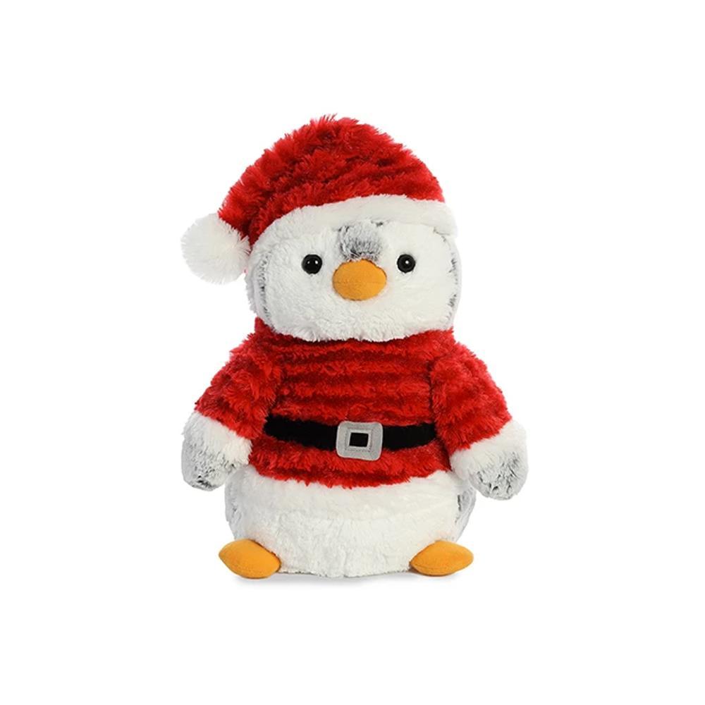 """Aurora PomPom Penguin Santa Plush 11"""""""
