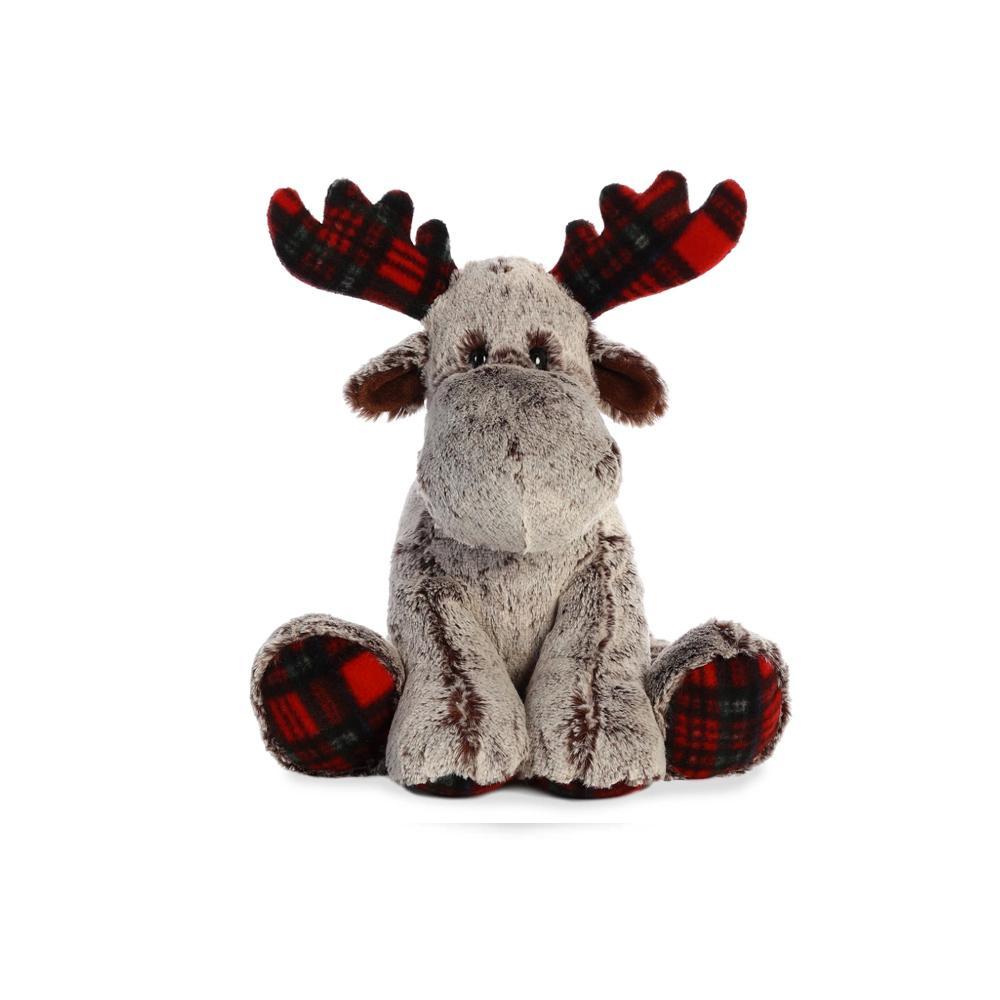 """Aurora Tartan Moose Plush 14"""""""
