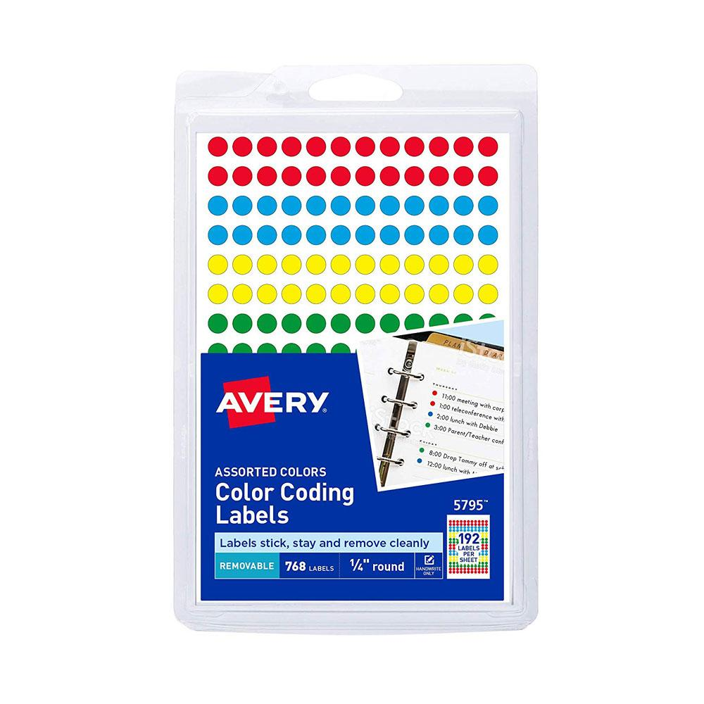 """Avery Assorted .25"""" Removable Color Coding Label Dots 768ct"""