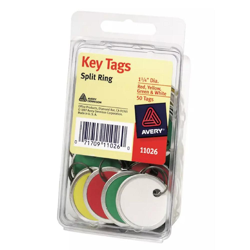"Avery Assorted 1-1/4"" Diameter Metal Rim Key Tags 50 Pack"