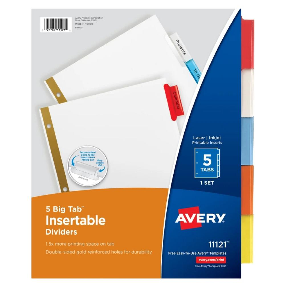 Avery 5-Tab Binder Dividers Multicolor