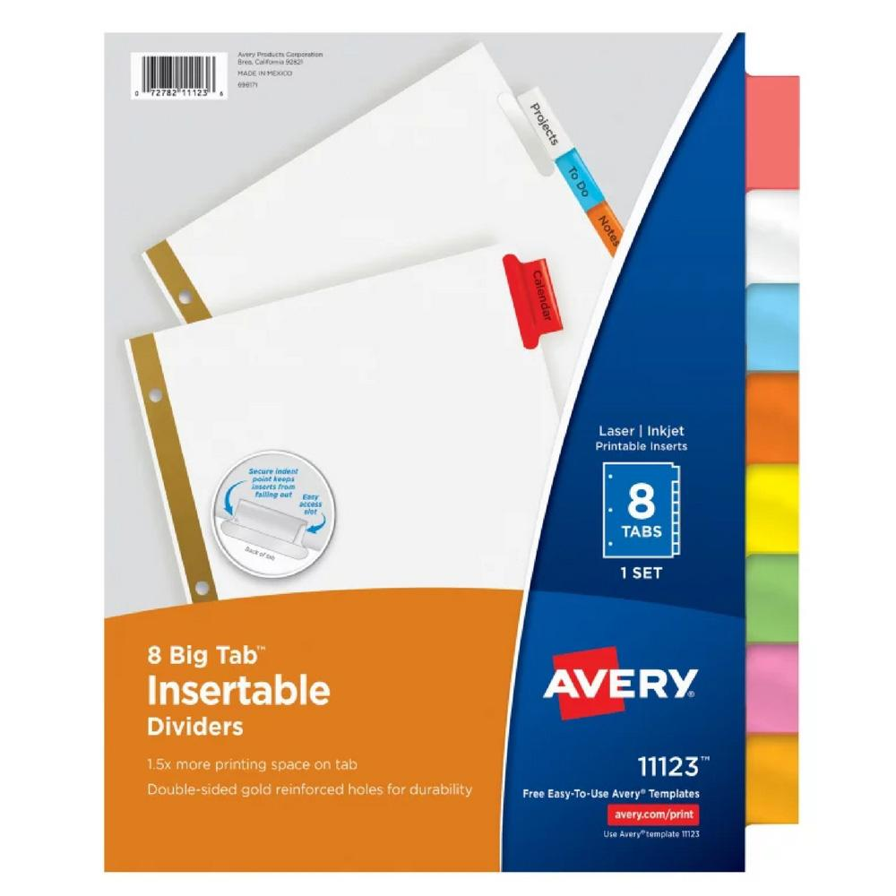 Avery Mulitcolor Big Tab 8 Tab Binder Dividers