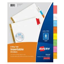Avery Mulitcolor Big Tab 8 Tab Binder Dividers