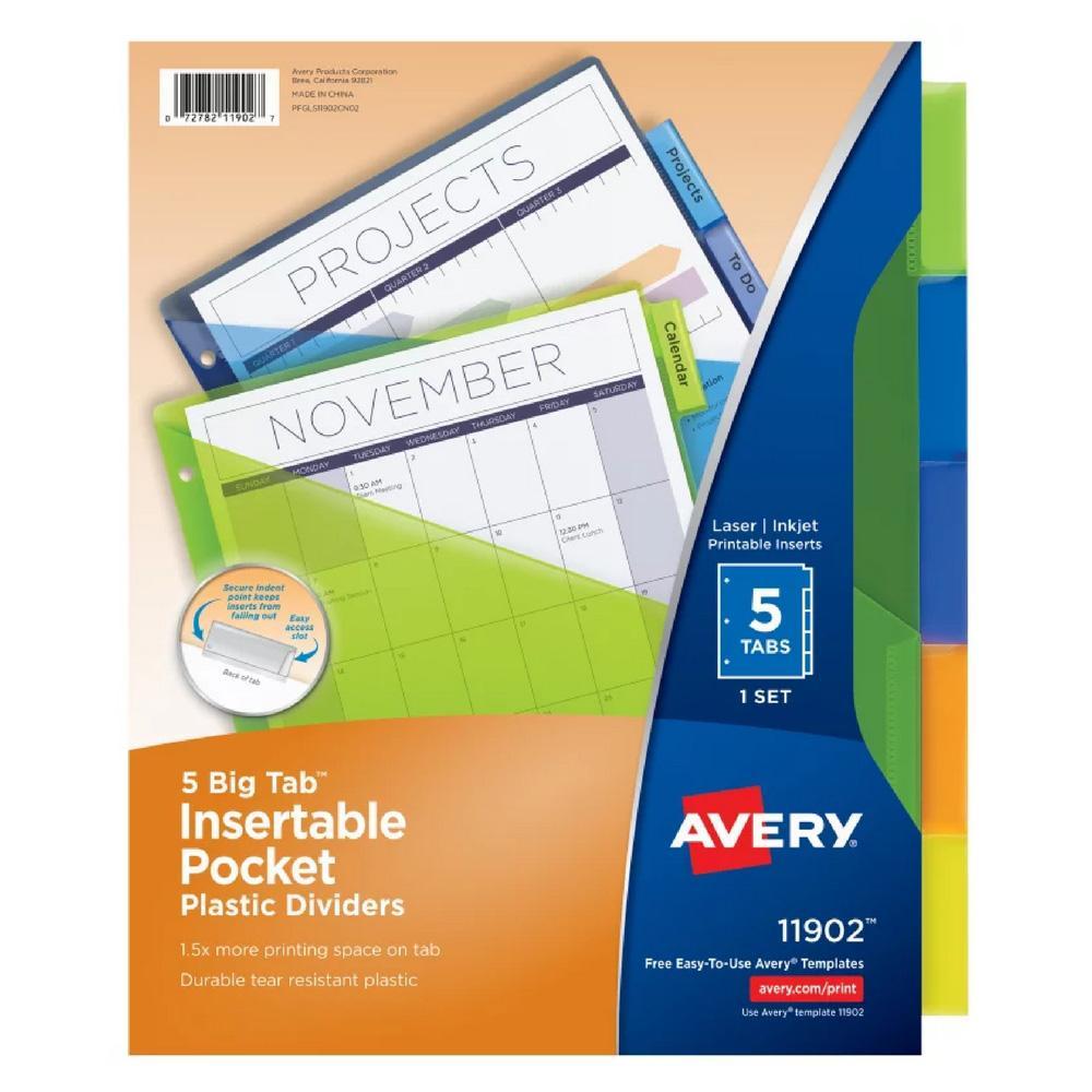 Avery Big Tab Plastic Dividers Multicolor 5-Tab