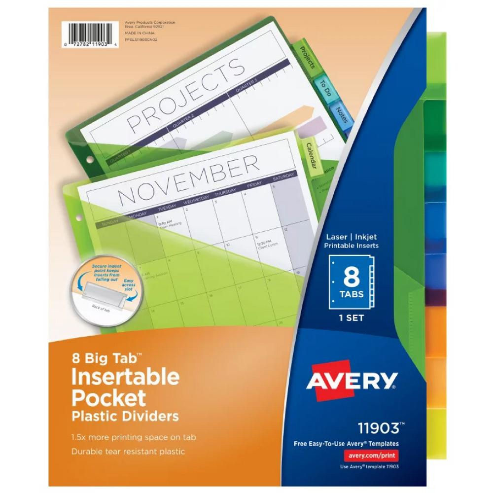 Avery Multicolor Big Tab 8 Tab Pocket Binder Dividers