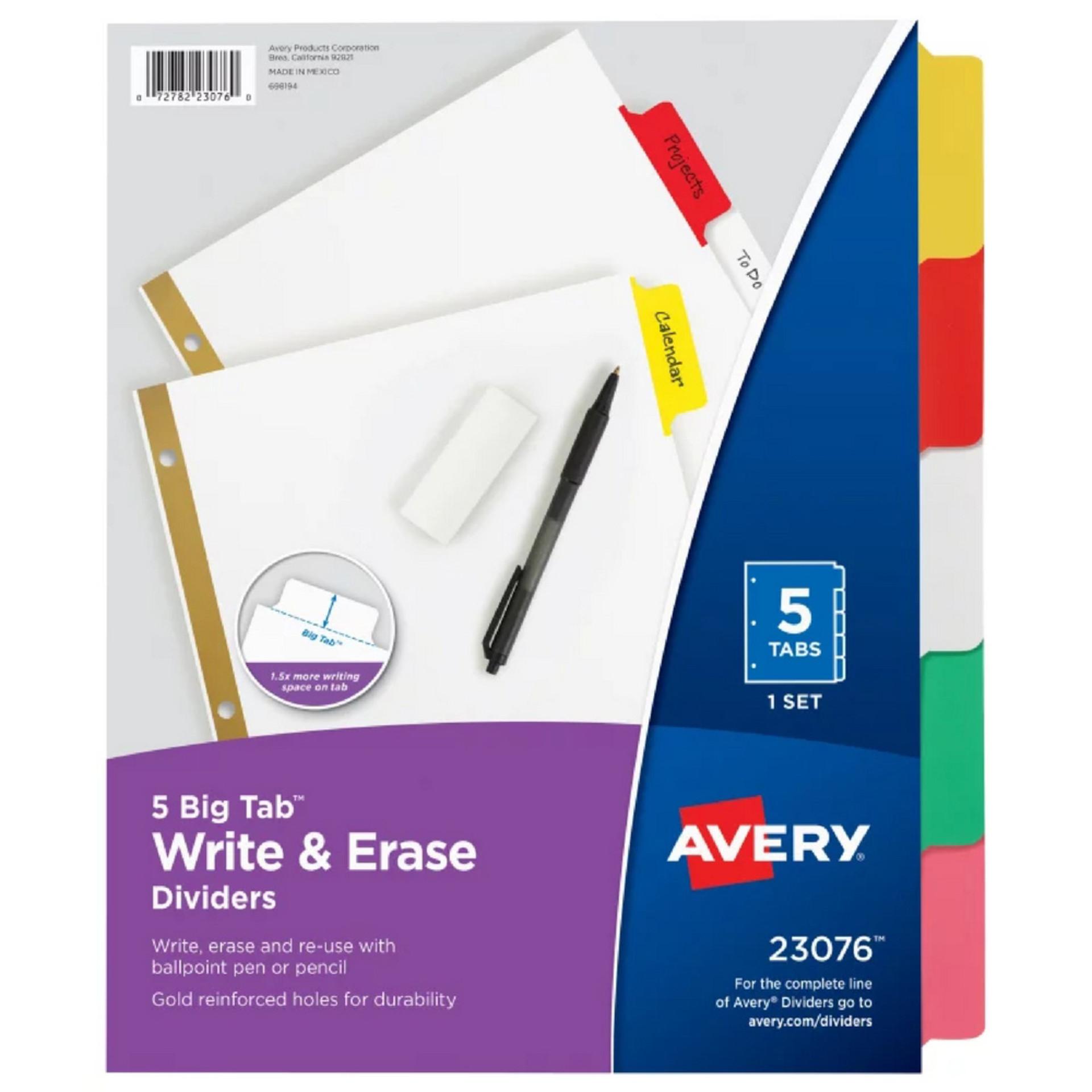 Avery Multicolor Big Tab Write & Erase 5 Tab Binder Dividers