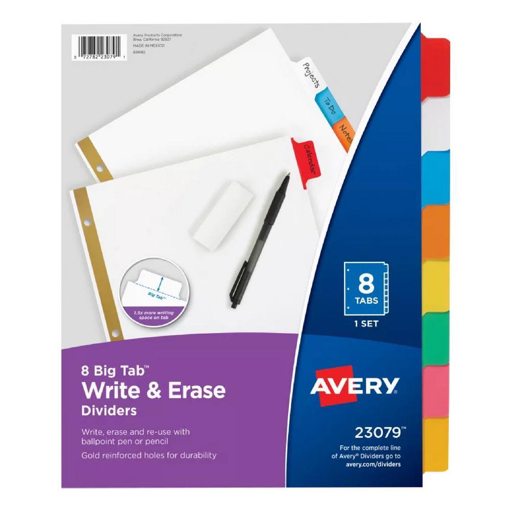 Avery Multicolor Big Tab Write & Erase 8 Tab Binder Dividers