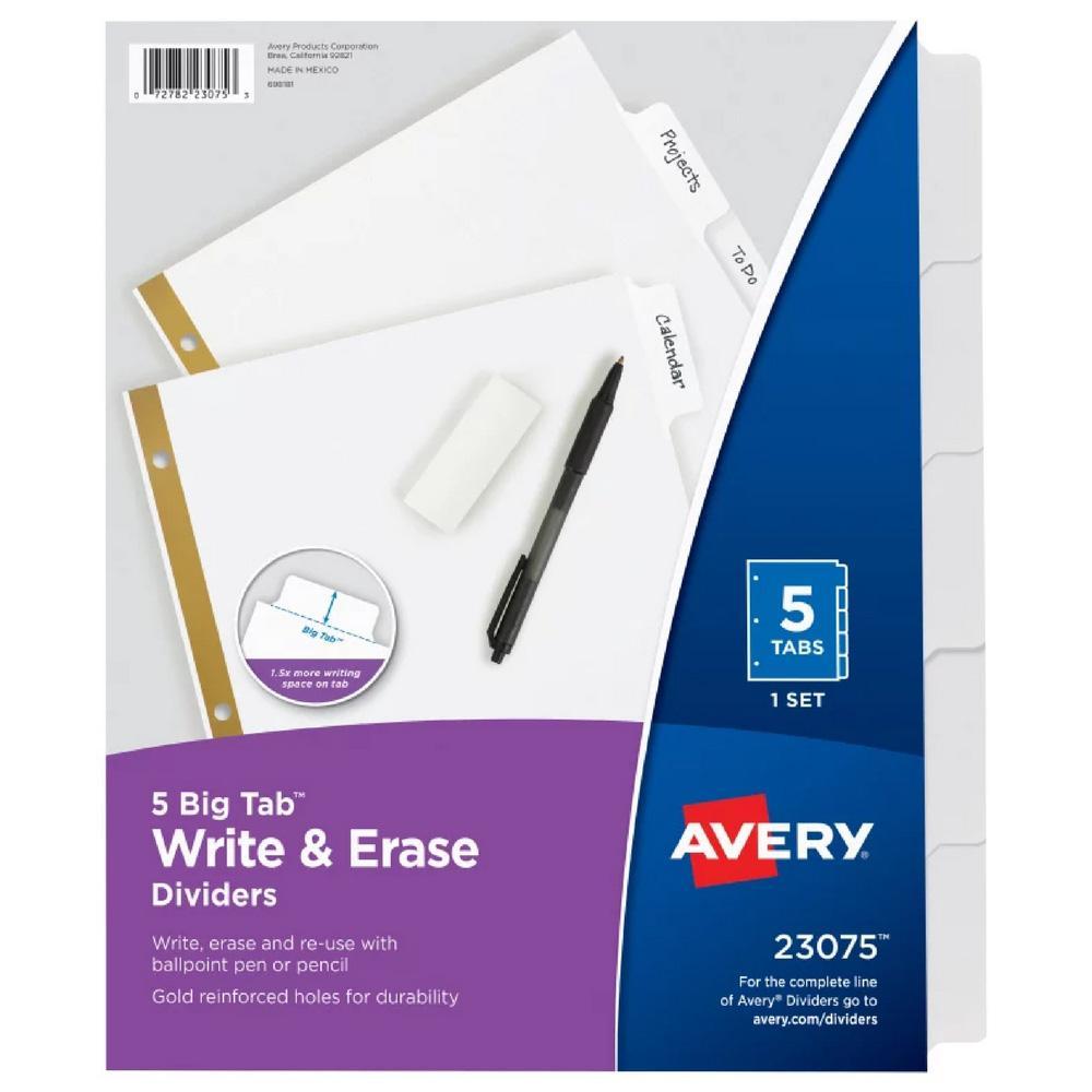 Avery White Big Tab Write & Erase 5 Tab Binder Dividers