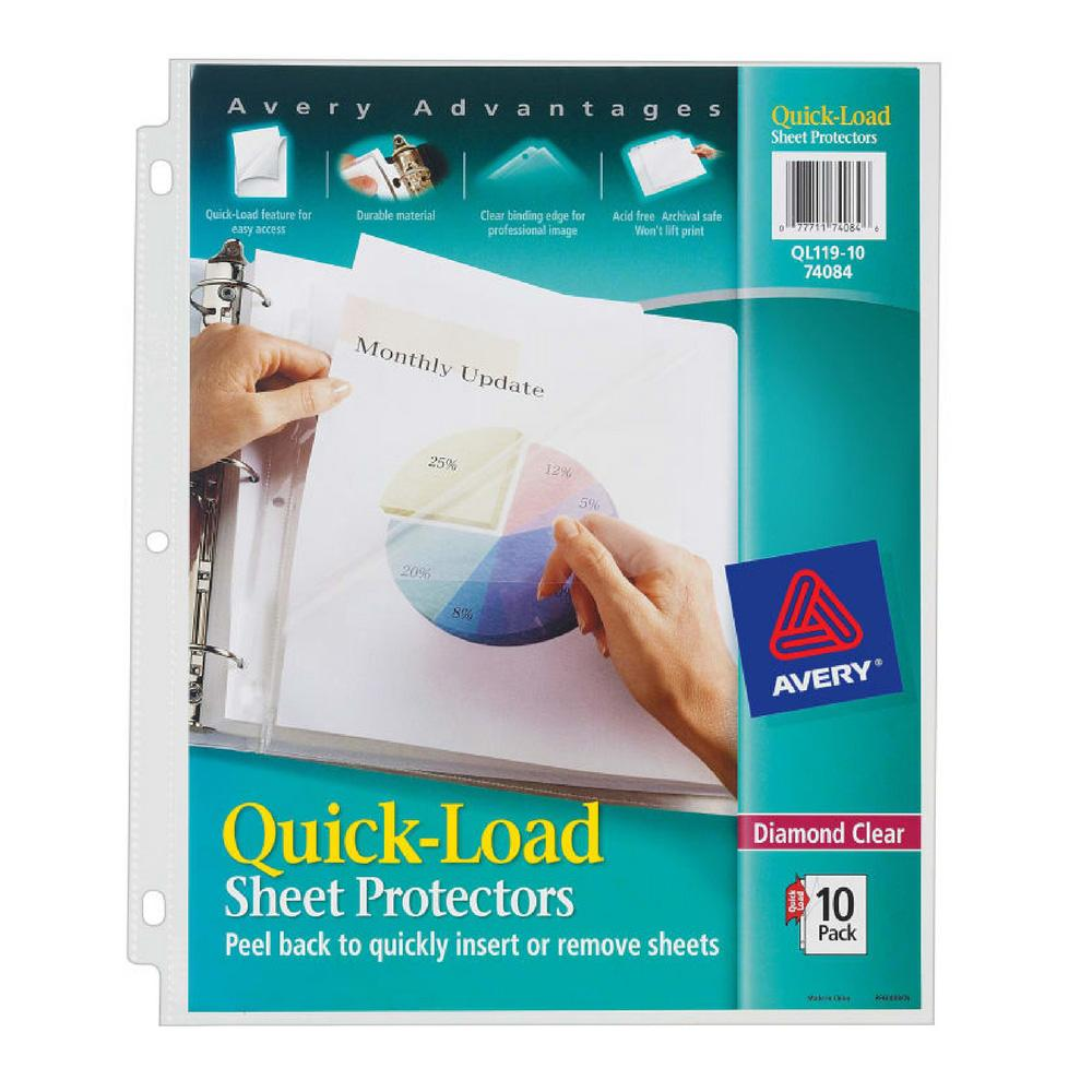 Avery Diamond Clear Quick Load Sheet Protectors 10 Pack