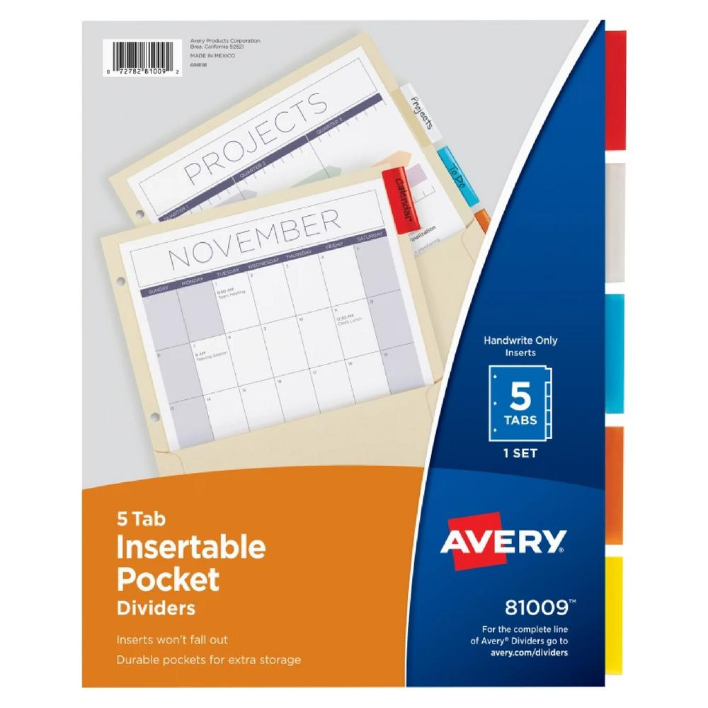 Avery Multicolor Manila Paper 5 Tab Pocket Binder Dividers