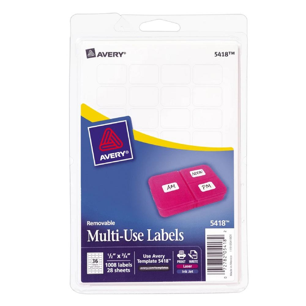 """Avery White Removable Multiuse 1/2""""x3/4"""" Labels 1008 Count"""