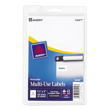 """Avery White Removable Multiuse 1-1/2""""x3"""" Labels 150 Count"""
