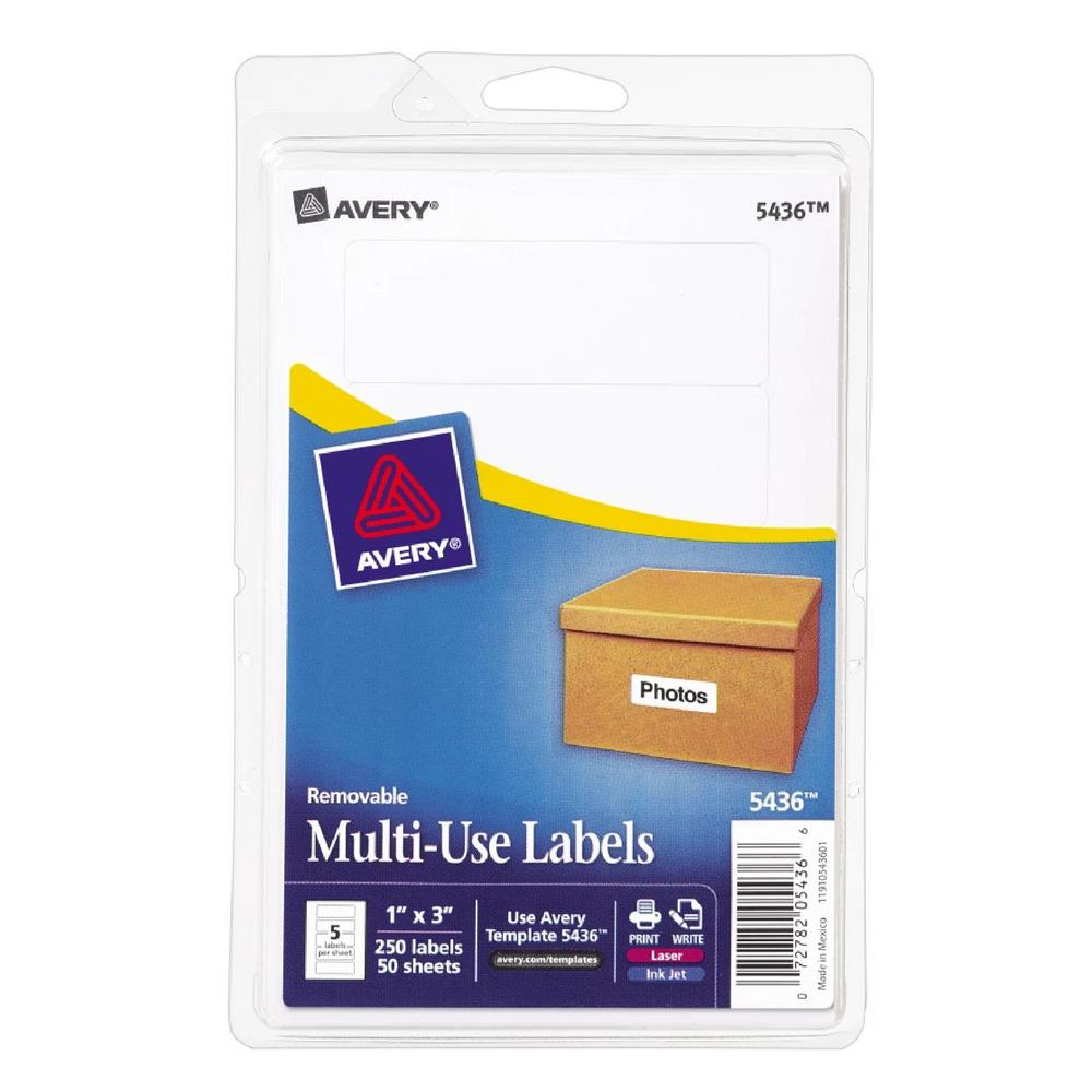 """Avery White Removable 1""""x3"""" Labels"""