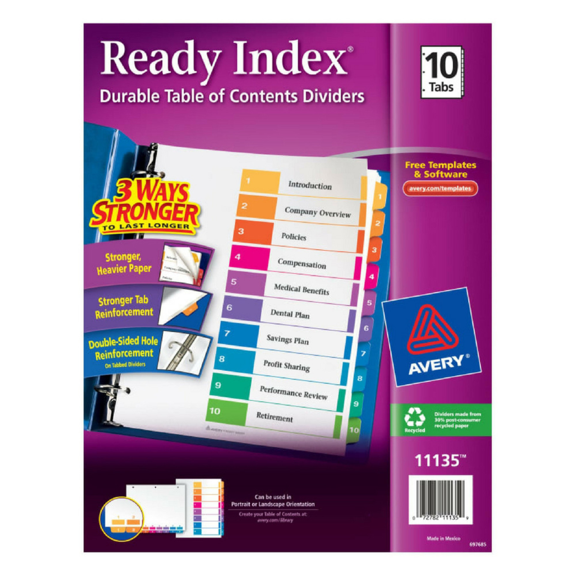 Avery Multicolor Customizable 10 Tab Binder Dividers
