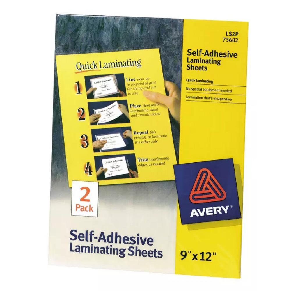 """Avery Self Adhesive 9""""x12"""" Laminating Sheets 2 Pack"""
