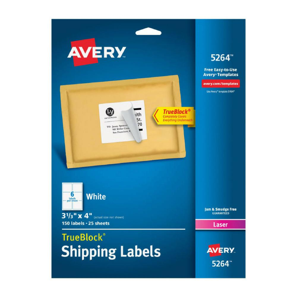 "Avery White 3-1/3""x4"" Laser Shipping Labels 150ct"