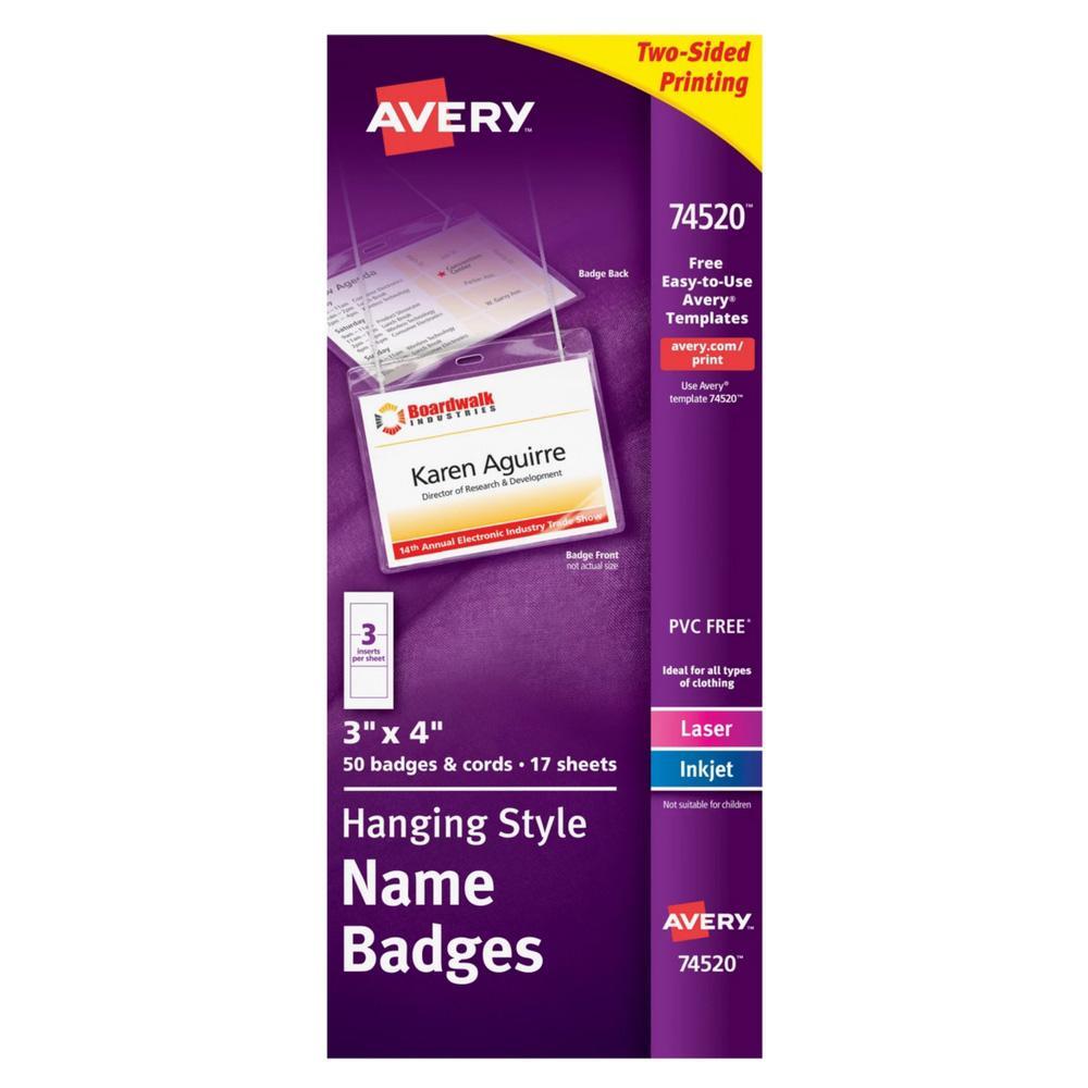 "Avery White Hanging Style 3""x4"" Name Badges 50ct"