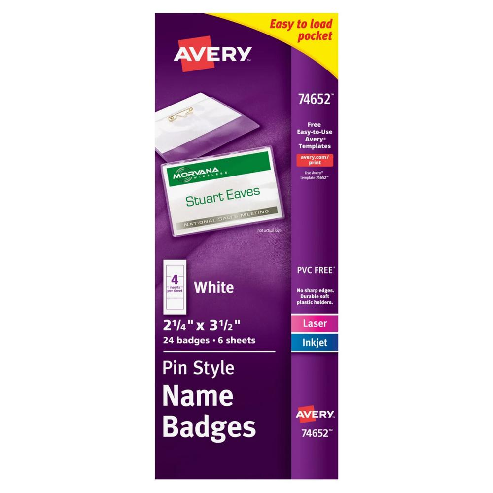 """Avery White Pin Style 2-1/4""""x3-1/2"""" Name Badges 24ct"""