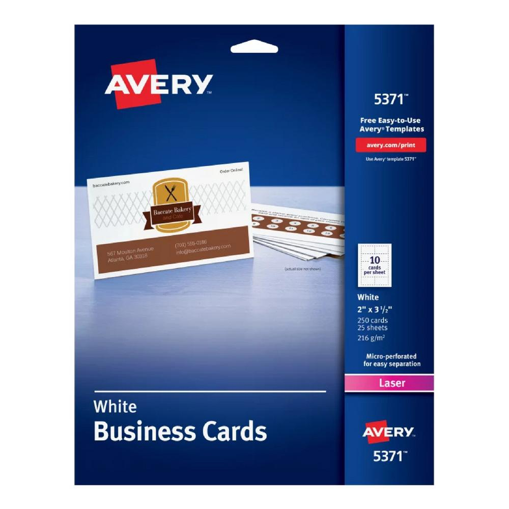 "Avery Uncoated White 2""x3-1/2"" Business Cards 250ct"