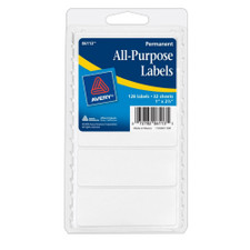 """Avery White All-Purpose 1""""x2-3/4"""" Labels 128 Count"""