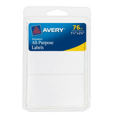 """Avery White All-Purpose 1-1/2""""x2-3/4"""" Labels 76 Count"""