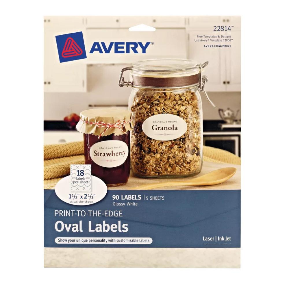 """Avery Glossy White 1-1/2""""x2-1/2"""" Oval Labels 90 Count"""