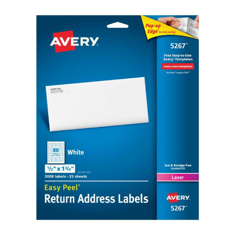 "Avery White Easy Peel 1/2""x1-3/4"" Return Address Labels 2000"