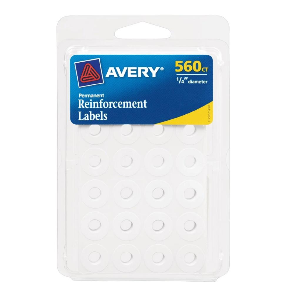 """Avery White Self Adhesive .25"""" Hole Reinforcements 560 Count"""