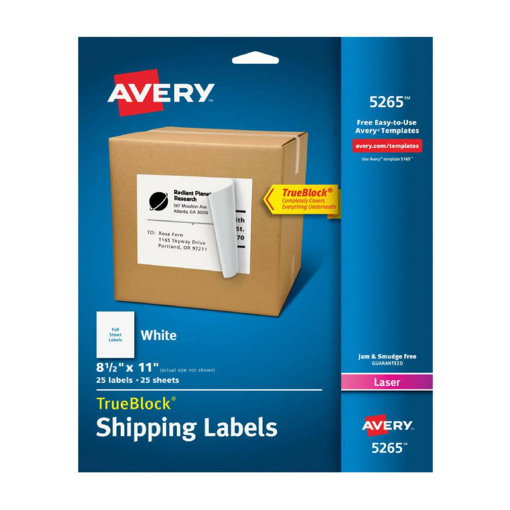 "Avery White 8-1/2""x11"" Laser Printer Shipping Labels 25ct"