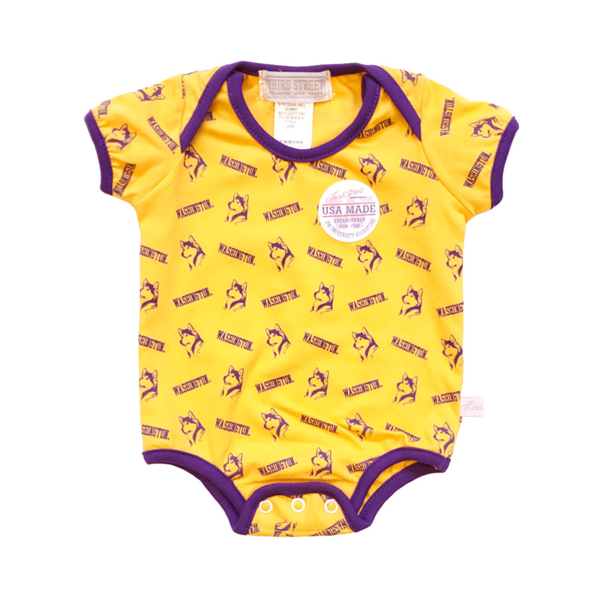 Third St Baby Retro Dog Washington Repeat Bodysuit