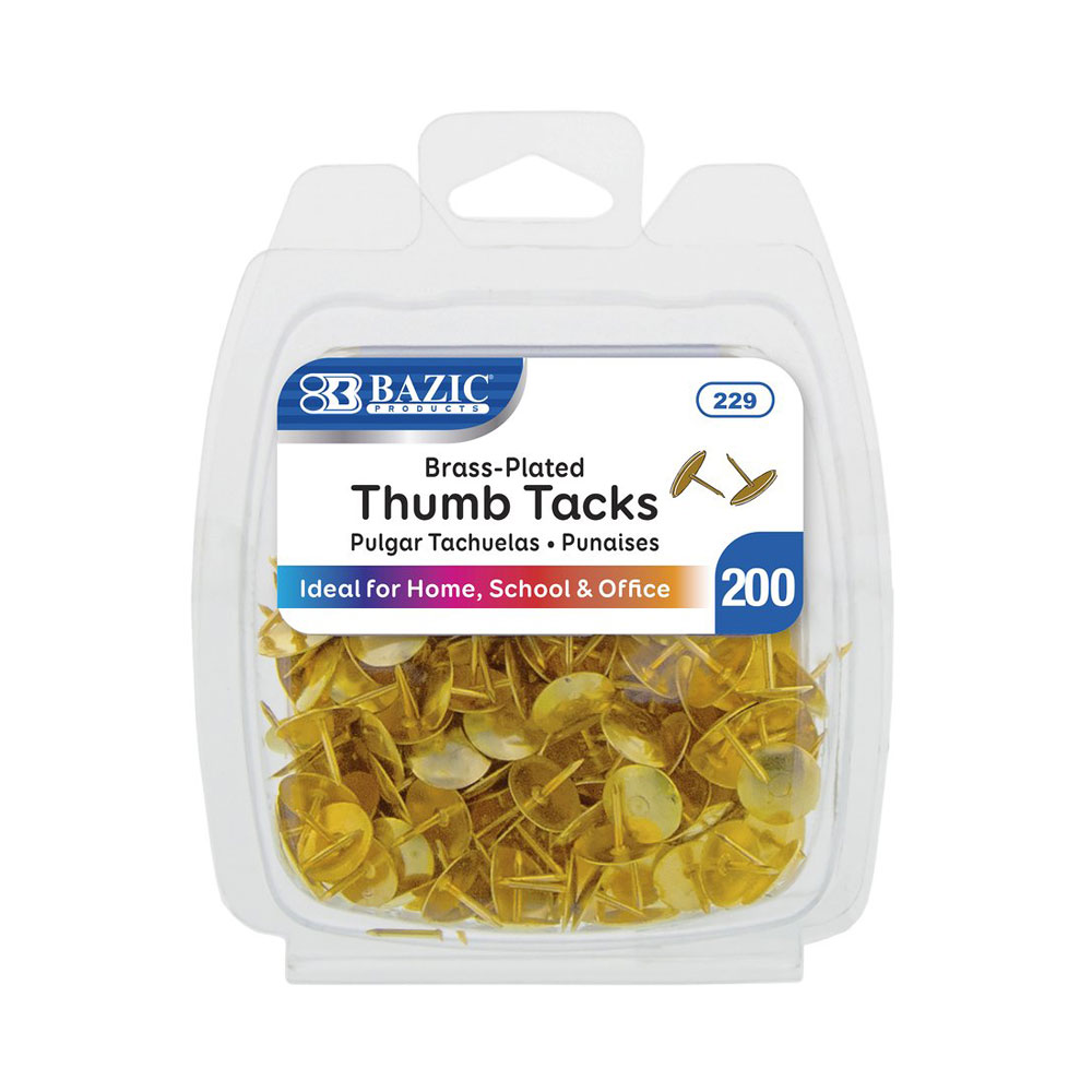 Bazic Brass Thumb Tacks 200 Count