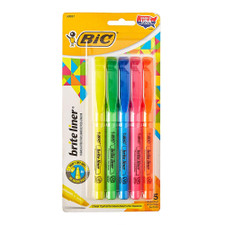 Bic Brite Liner Fluorescent Highlighters 5 Count