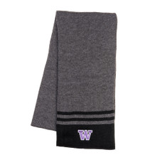 Black & Gray W Team Knit Scarf
