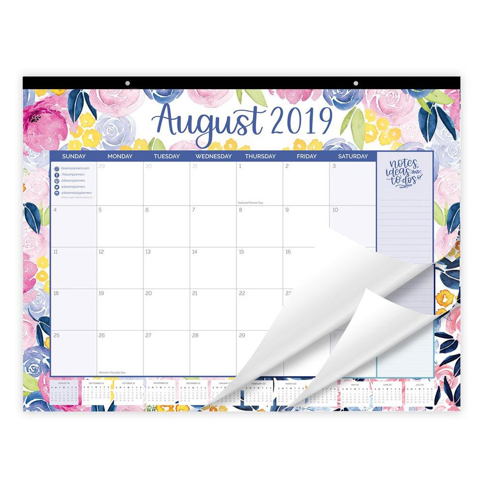 "Bloom 2020 Watercolor Floral 16""x21"" Desk Wall Calendar"
