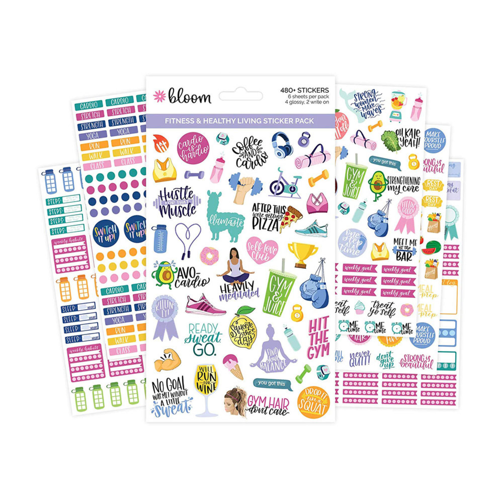 Bloom Fitness Sticker Pack 6 Count