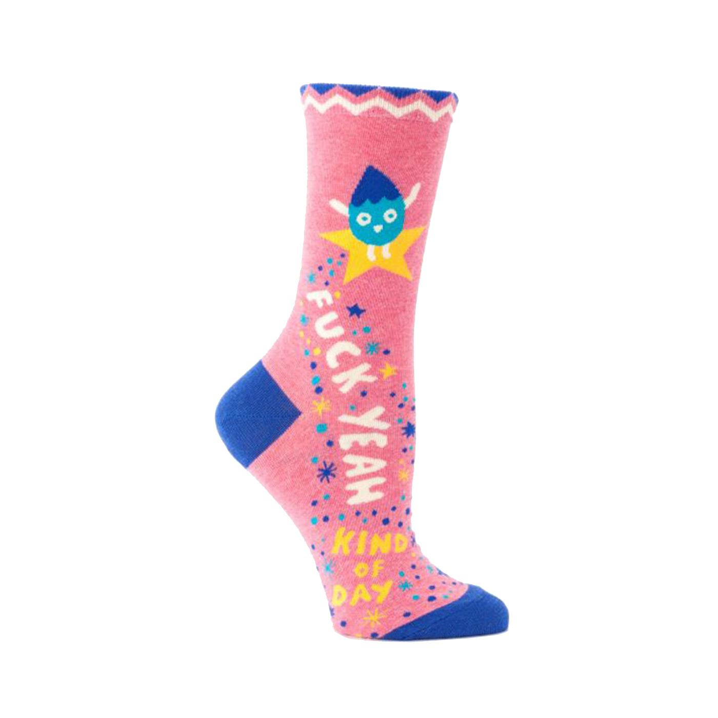Blue Q Sock Fuck Yeah Kind of Day Women's Crew Right Side