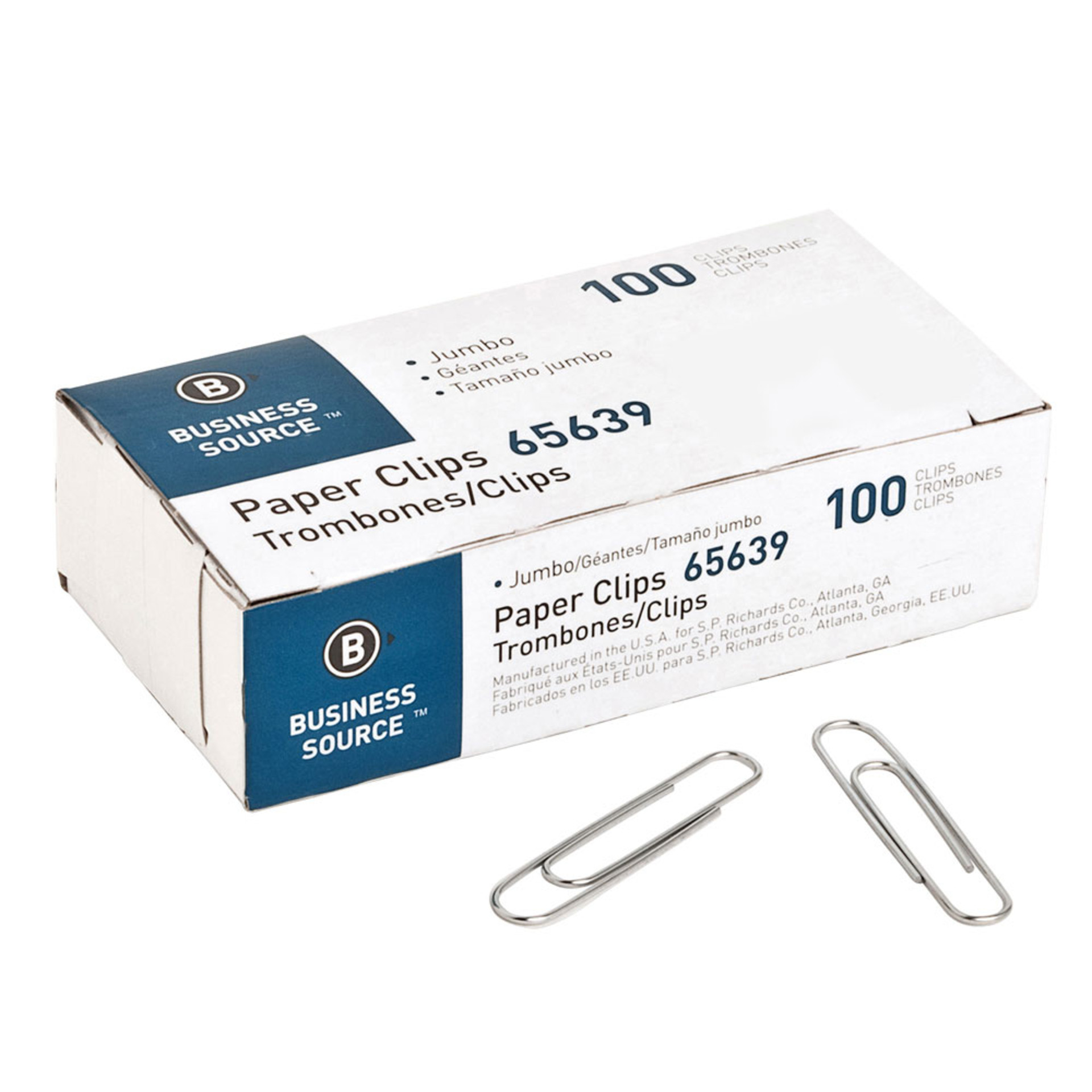 Business Source Silver Jumbo Paper Clips 100 Pack