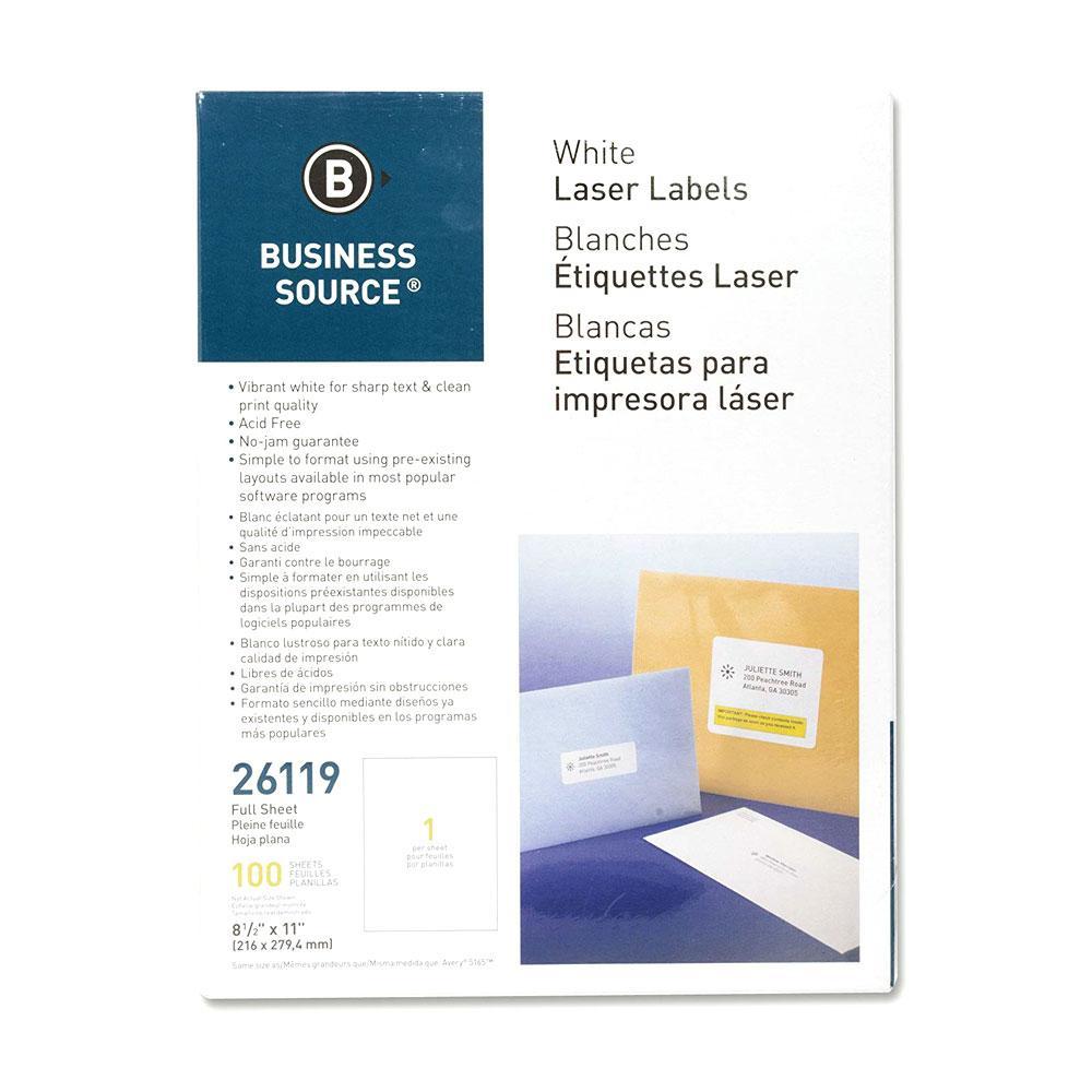 "Business Source White 8.5""x11"" Single Laser Printer Label"