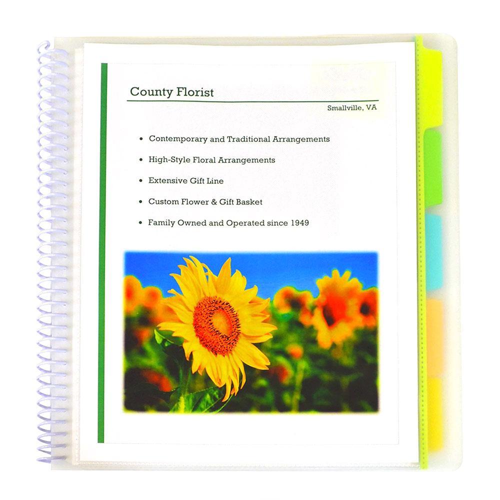 C-Line Clear 10 Pocket 5 Tab Spiral Bound Poly Portfolio