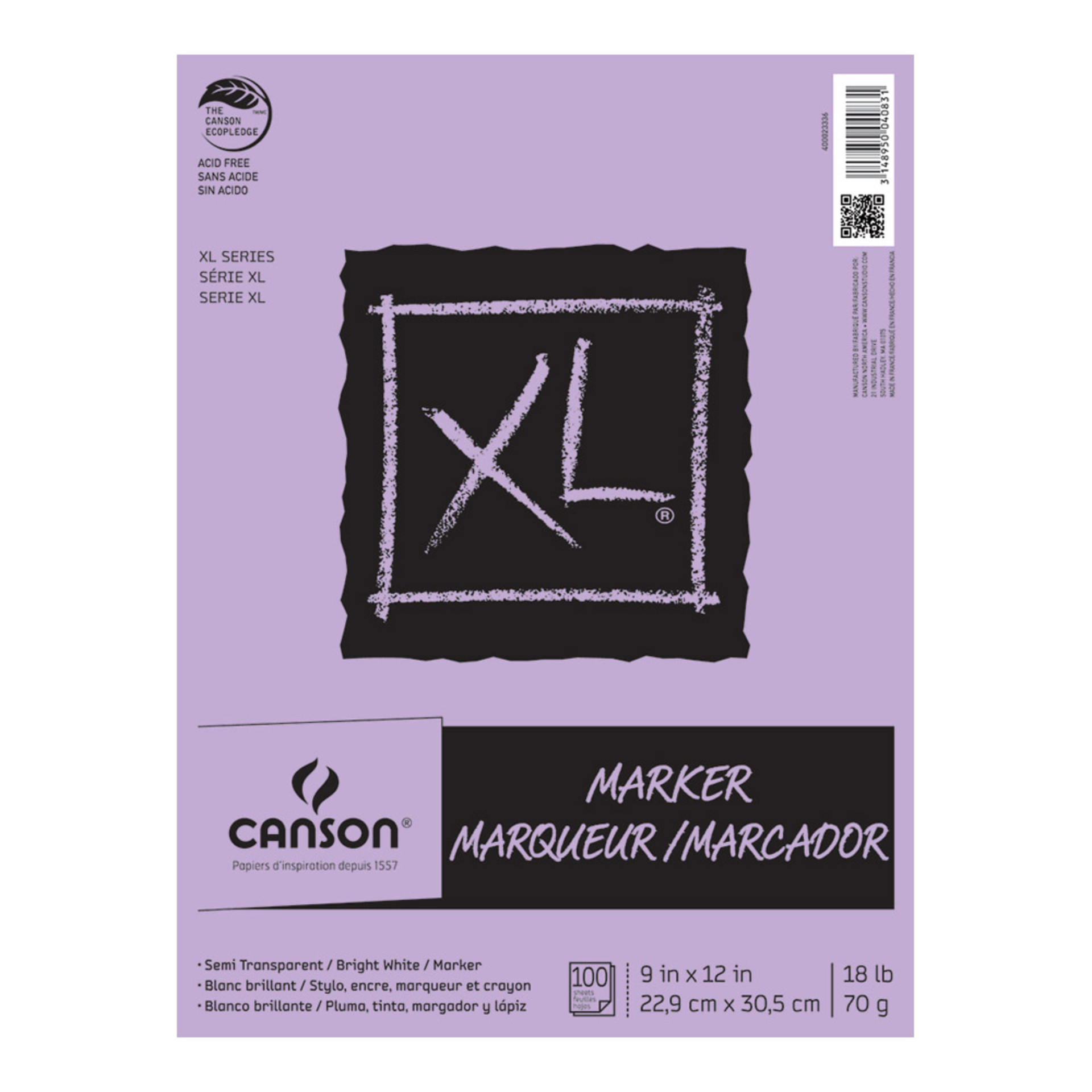 "Canson XL Marker Pad 100 Sheet 9""x12"""