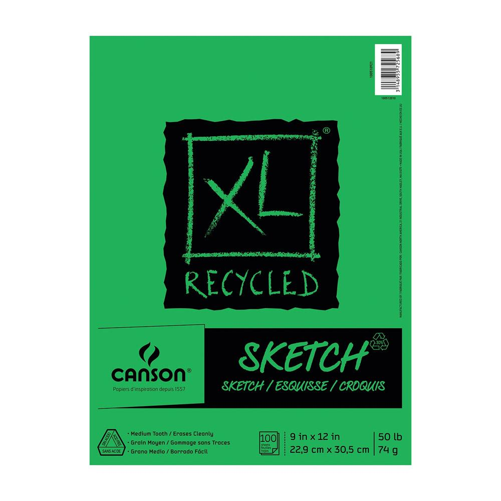 """Canson XL Recycled Sketch Spiral Bound Pad 9""""x12"""""""
