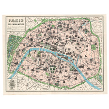 "Cavallini 20"" x 28"" Paris Map Decorative Paper"