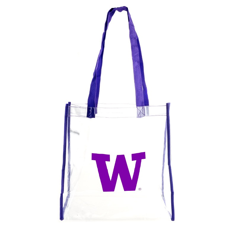 Completely new Clear W with Purple Trim Clear Stadium-Approved Tote Bag UJ73