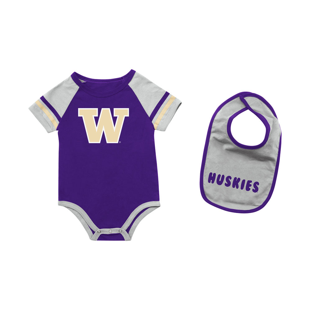 Colosseum Baby W Huskies Warner Bodysuit and Bib Set