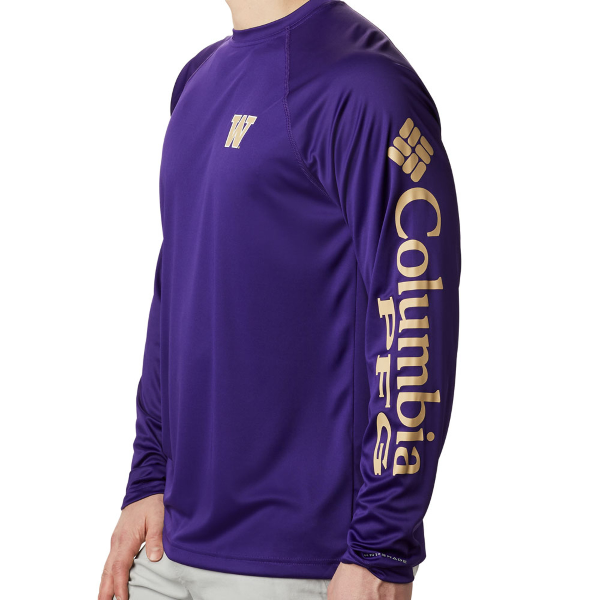 Columbia Men's W Terminal Tackle Long Sleeved Tee – Purple – Side View